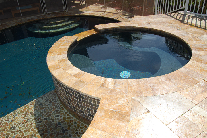 Travertine tile pool beauteous silver travertine pavers for Modern view decking
