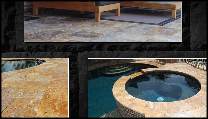 travertine sample house and pool deck